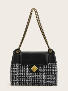 Twist Lock Tweed Chain Tote Bag