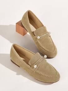 Faux Pearl Decor Corduroy Loafers