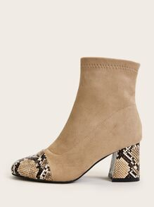 Snakeskin Print Suede Panel Chunky Boots