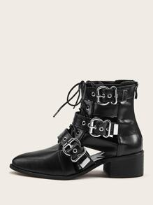 Buckle Decor Lace-up Front Zip Back Boots