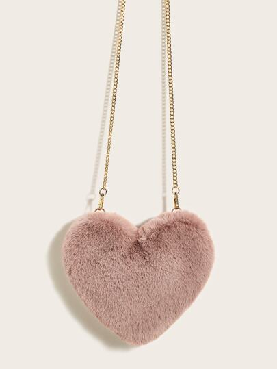 Fluffy Heart Shaped Chain Crossbody Bag