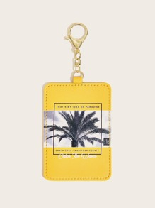Letter & Coconut Palm Pattern Bag Accessory