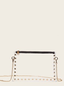 Studded Decor Clear Crossbody Bag