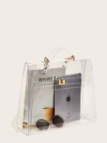 Metal Lock Clear Satchel Bag