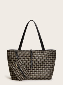 Tweed Tote Bag With Mini Pouch