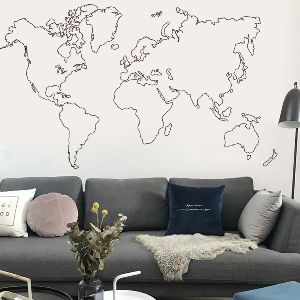 Abstract World Map Print Wall Sticker
