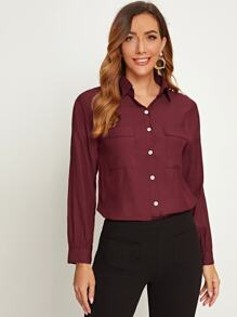 Solid Button Through Double Pocket Blouse