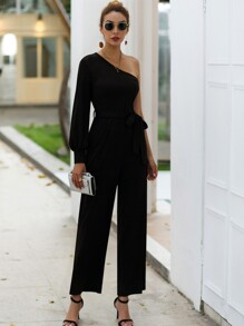 One Shoulder Belted Straight Leg Jumpsuit