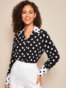 Contrast Collar Polka Dot Blouse