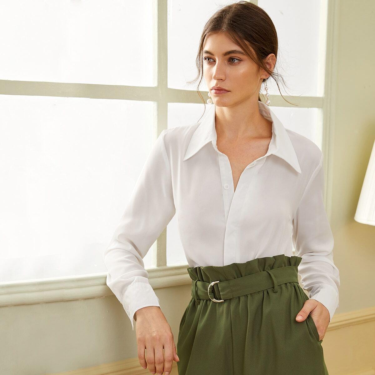 Однотонная однобортная блуза