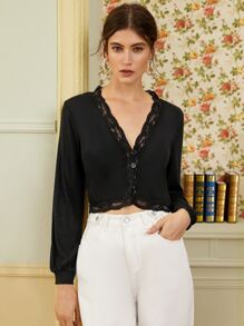 Contrast Lace Button Front Crop Tee