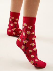 Daisy Pattern Socks 1pair