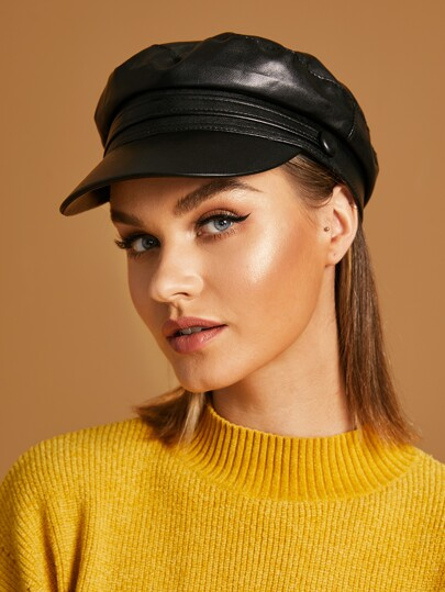 Plain PU Newsboy Hat