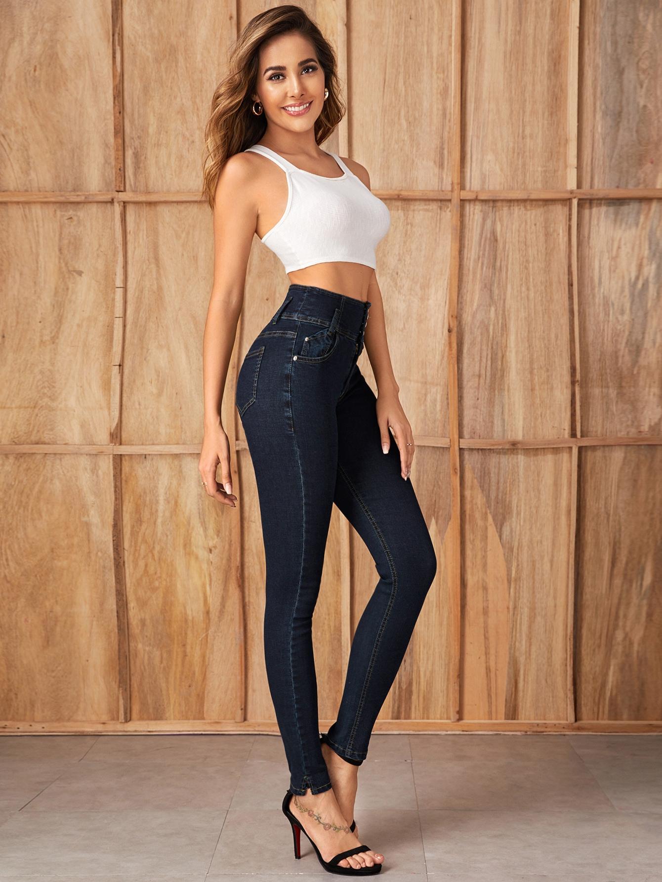Dark Wash High Stretch Wide Waistband Skinny Jeans thumbnail