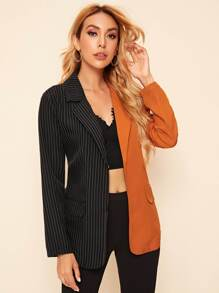 Lapel Neck Belted Spliced Striped Blazer