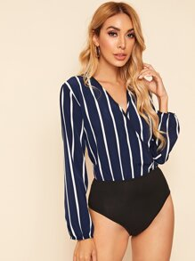 Surplice Front Striped Print Combo Bodysuit