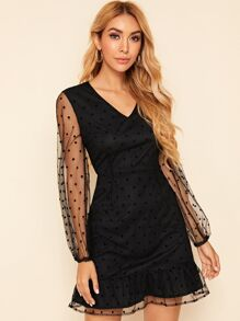V Neck Dobby Mesh Panel Fitted Dress
