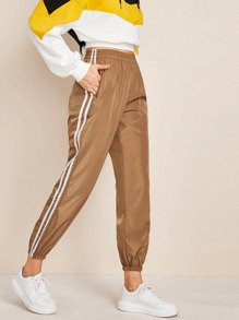 Striped Side Pocket Windbreaker Sweatpants