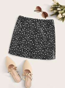 Star Print Zip Back Faux Leather Straight Skirt