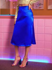 Neon Blue Satin A-line Skirt