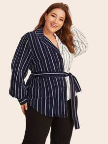 Plus Two Tone Striped Curved Hem Belted Blouse