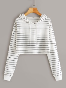 Striped Drop Shoulder Drawstring Hoodie
