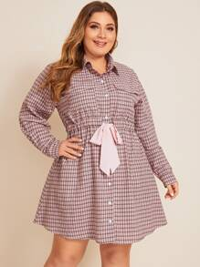plus plaid tie front shirt dress