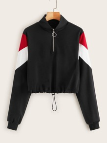 O-ring Half Zip Contrast Panel Drawstring Sweatshirt