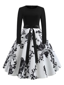 Plus Floral Print Belted Ball Gown Dress