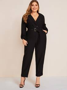 Plus Solid Lapel Collar Buckle Belted Jumpsuit