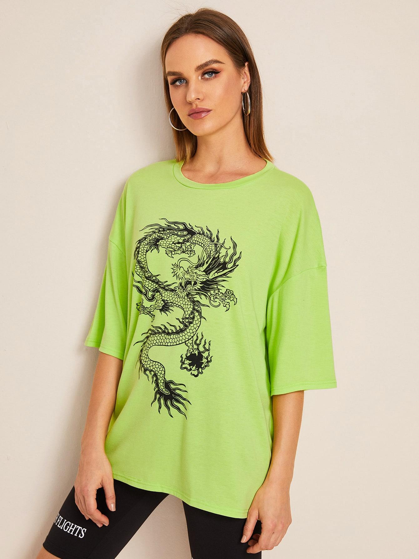 Neon Grün T-Shirt mit Drachen Muste | SHEIN