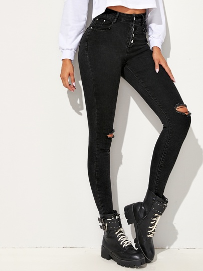 Black Wash Ripped Skinny Jeans