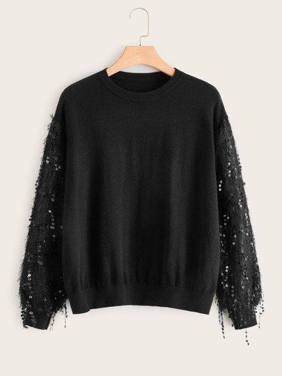 Plus Contrast Sequin Drop Shoulder Sweater