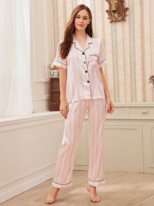 Striped Button-up Satin Pajama Set