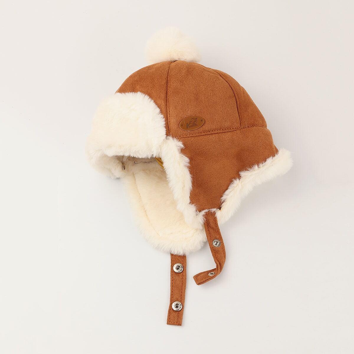 Детская шапка с помпоном и пряжкой от SHEIN