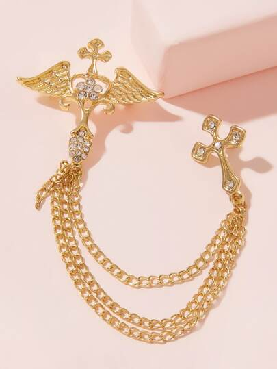 Cross & Wing Decor Chain Brooch 1pc