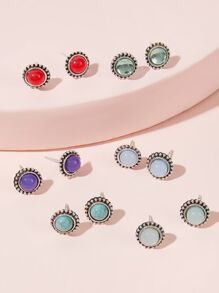 Gemstone Stud Earrings 6pairs