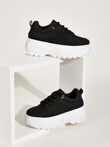 Lace-up Front Flatform Chunky Sneakers