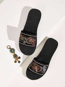 Sequins Decor Open Toe Sliders