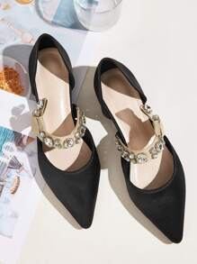 Point Toe Jewelled Decor Flats