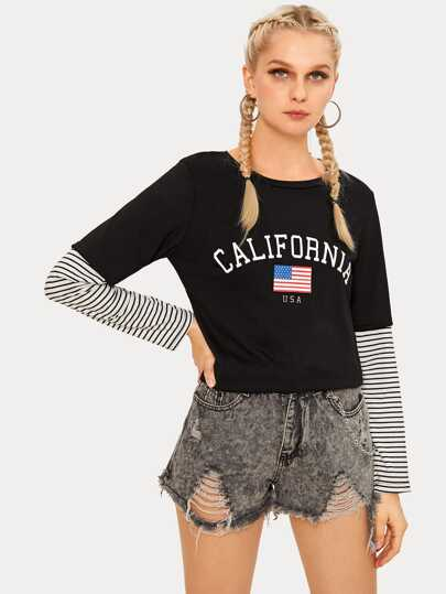 Contrast Striped Sleeve Letter Print Tee
