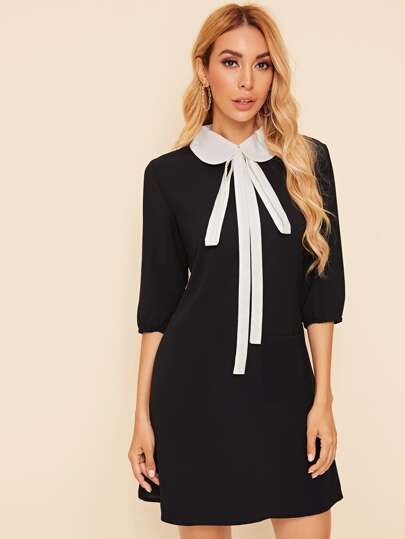 Tie Neck 3/4 Sleeve Dress