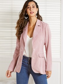SBetro Notch Collar Single Breasted Front Cord Blazer