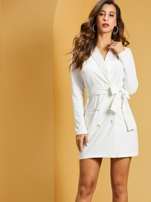 SBetro Shawl Collar Self Belted Blazer Dress