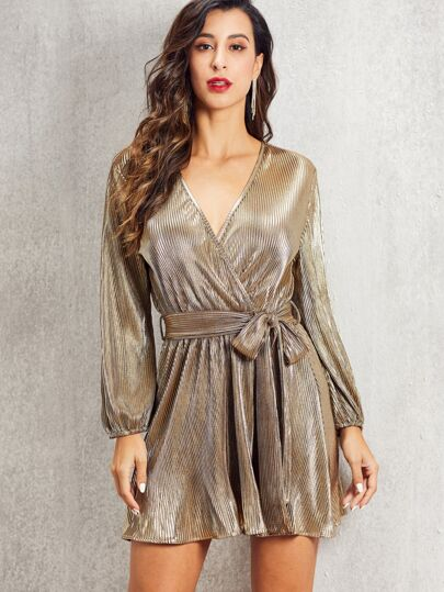 SBetro Self Belted Wrap Pleated Metallic Dress