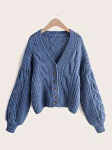 Solid Bishop Sleeve Cable Knit Cardigan