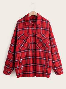 Plaid Pocket Button Front Coat