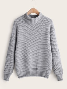 Solid Stand Collar Drop Shoulder Sweater