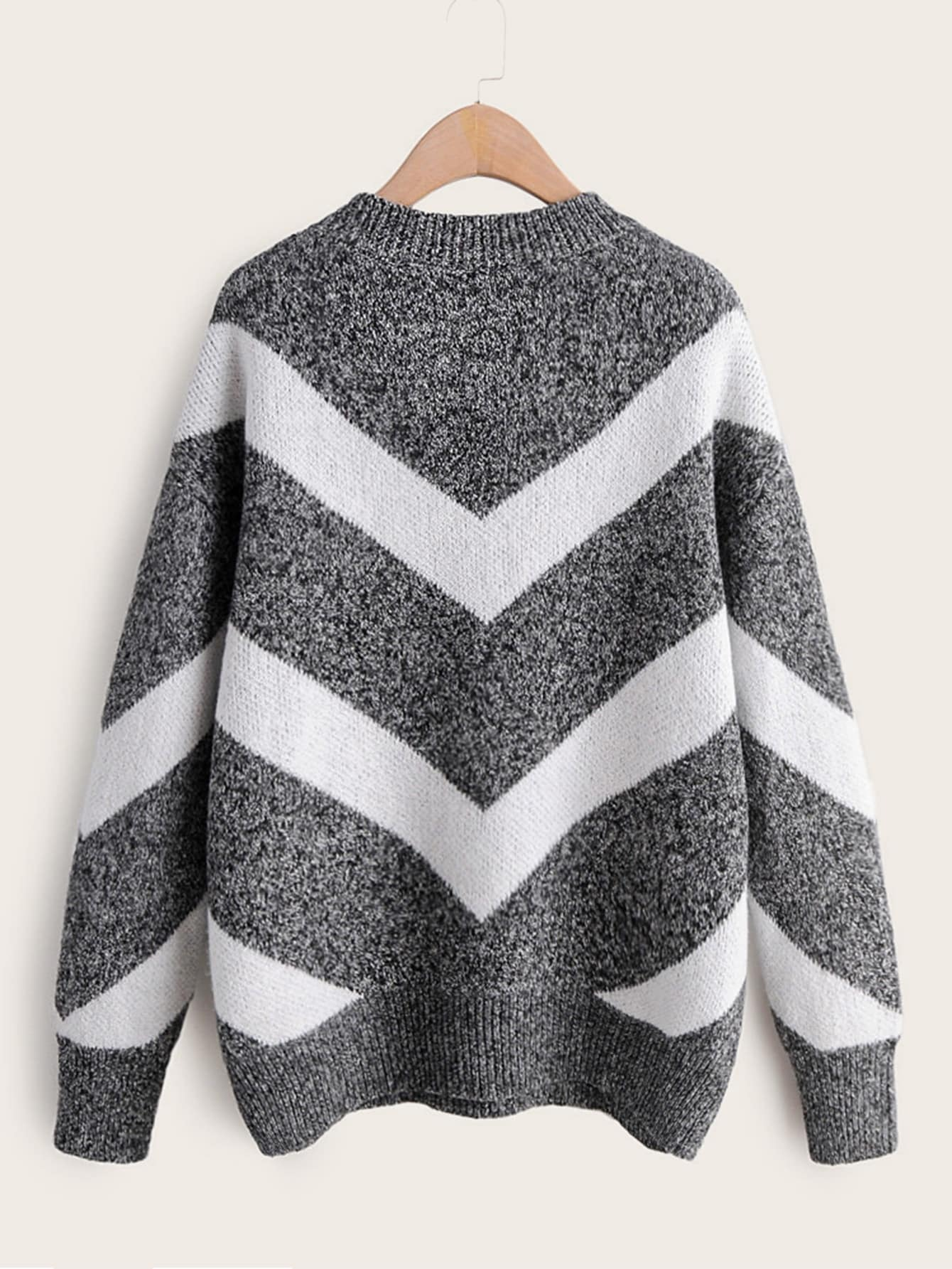 Space Dye Chevron Drop Shoulder Sweater