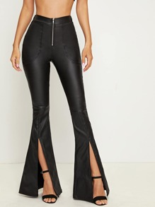 Zipper Fly Slit Hem Flare Jeans